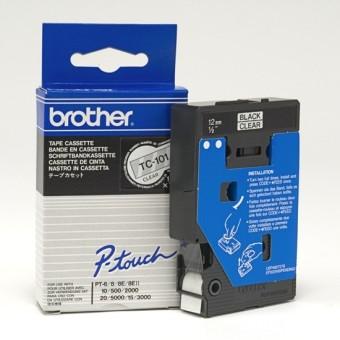 Originálná páska Brother TC-101, 12mm, čierna tlač na priesvitnom podklade