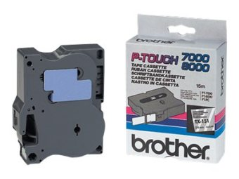 Originálná páska Brother TX-151, 24mm, čierna tlač na priesvitnom podklade
