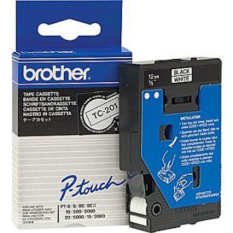 Originálná páska Brother TC-201, 12mm, čierna tlač na bielom podklade
