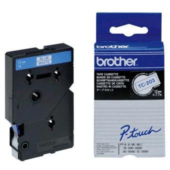 Originálná páska Brother TC-203, 12mm, modrá tlač na bielom podklade