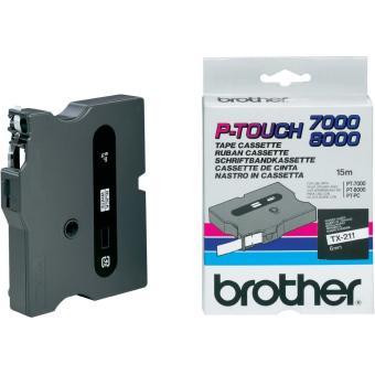 Originálná páska Brother TX-211, 6mm, čierna tlač na bielom podklade