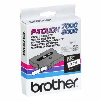 Originálná páska Brother TX-221, 9mm, čierna tlač na bielom podklade