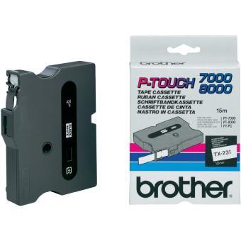 Originálná páska Brother TX-231, 12mm, čierna tlač na bielom podklade
