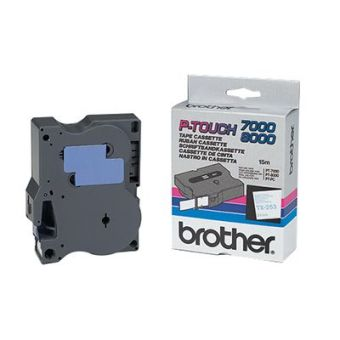 Originálná páska Brother TX-253, 24mm, modrá tlač na bielom podklade