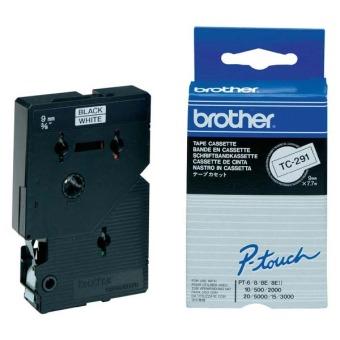 Originálná páska Brother TC-291, 9mm, čierna tlač na bielom podklade