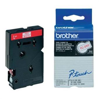 Originálná páska Brother TC-292, 9mm, červená tlač na bielom podklade