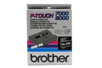 Originálná páska Brother TX-335, 12mm, biela tlač na čiernom podklade