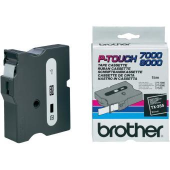 Originálná páska Brother TX-355, 24mm, biela tlač na čiernom podklade
