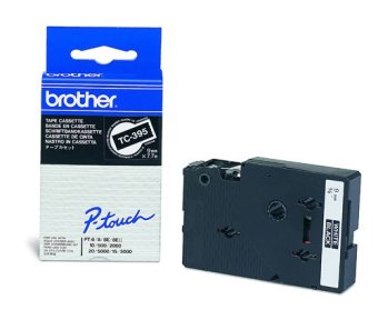Originálná páska Brother TC-395, 9mm, biela tlač na čiernom podklade
