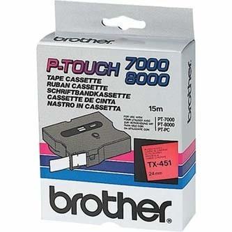 Originálná páska Brother TX-451, 24mm, čierna tlač na červenom podklade