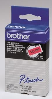 Originálná páska Brother TC-491, 9mm, čierna tlač na červenom podklade