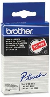Originálná páska Brother TC-495, 9mm, biela tlač na červenom podklade