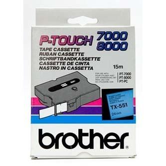 Originálná páska Brother TX-551, 24mm, čierna tlač na modrom podklade