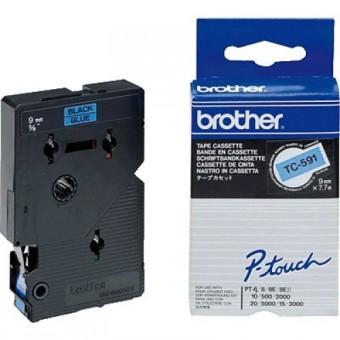Originálná páska Brother TC-591, 9mm, čierna tlač na modrom podklade