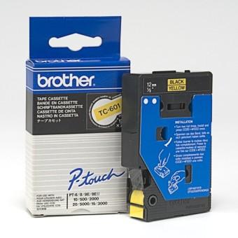 Originálná páska Brother TC-601, 12mm, čierna tlač na žltom podklade