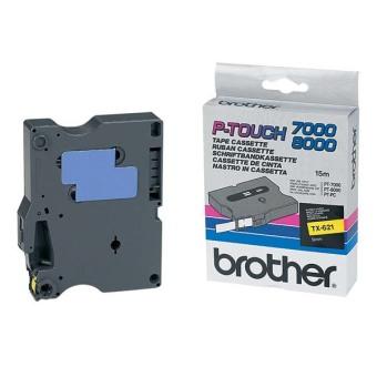 Originálná páska Brother TX-621, 9mm, čierna tlač na žltom podklade