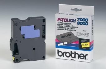 Originálná páska Brother TX-631, 12mm, čierna tlač na žltom podklade