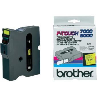 Originálná páska Brother TX-651, 24mm, čierna tlač na žltom podklade