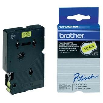 Originálná páska Brother TC-691, 9mm, čierna tlač na žltom podklade