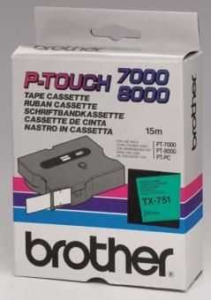Originálná páska Brother TX-751, 24mm, čierna tlač na zelenom podklade