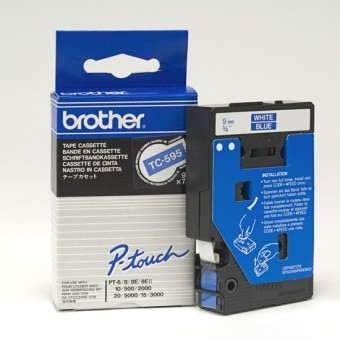 Originálná páska Brother TC-595, 9mm, biela tlač na modrom podklade