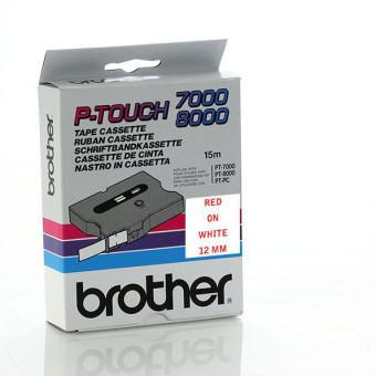 Originálná páska Brother TX-232, 12mm, červená tlač na bielom podklade