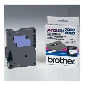 Originálná páska Brother TX-233, 12mm, modrá tlač na bielom podklade
