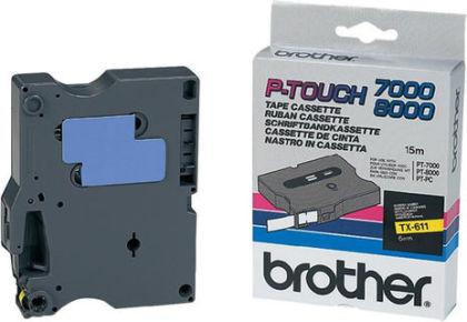 Originálná páska Brother TX-611, 6mm, čierna tlač na žltom podklade