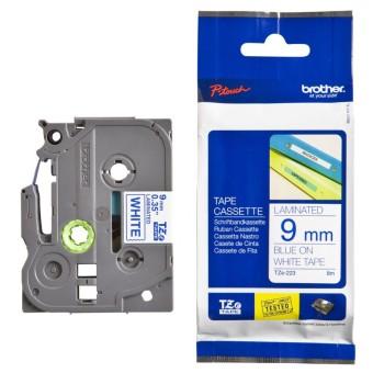 Originálná páska Brother TZE-223, 9mm, modrá tlač na bielom podklade