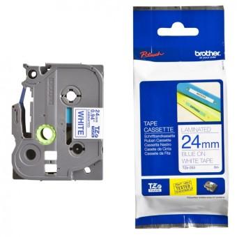 Originálná páska Brother TZE-253, 24mm, modrá tlač na bielom podklade