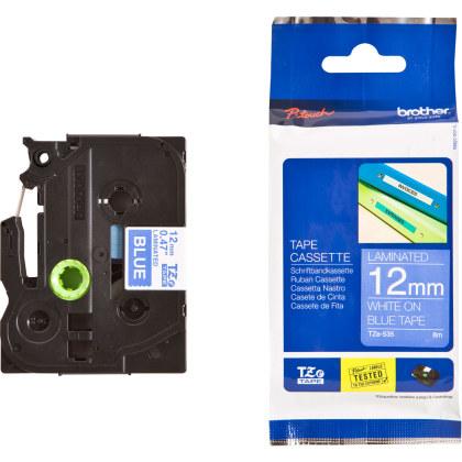 Originálná páska Brother TZE-535, 12mm, biela tlač na modrom podklade