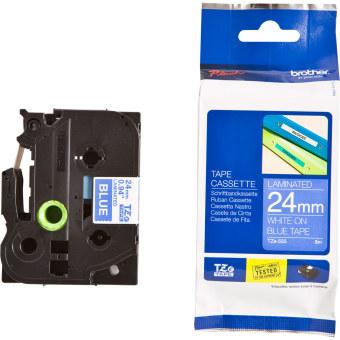 Originálná páska Brother TZE-555, 24mm, biela tlač na modrom podklade