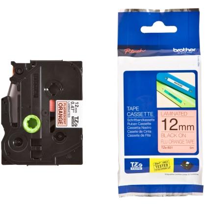 Originálná páska Brother TZE-B31, 12mm, čierna tlač na signálne oranžovom podklade