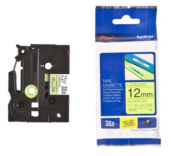 Originálná páska Brother TZE-C31, 12mm, čierna tlač na signálne žltom podklade