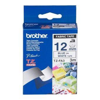 Originálná páska Brother TZE-FA3, 12mm, modrá tlač na bielom podklade, zažehľovacia