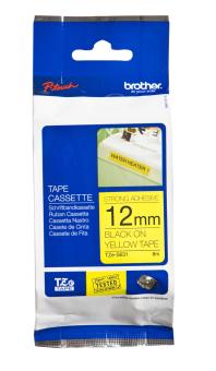Originálná páska Brother TZE-S631, 12mm, extrémne priľnavá, čierna tlač na žltom podklade