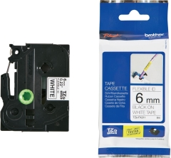 Originálná páska Brother TZE-FX211, 6mm, čierna tlač na bielom podklade, flexibilné
