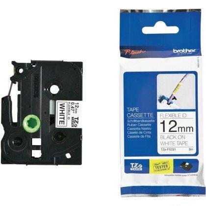 Originálná páska Brother TZE-FX231, 12mm, čierna tlač na bielom podklade, flexibilné