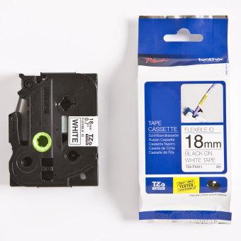 Originálná páska Brother TZE-FX241, 18mm, čierna tlač na bielom podklade, flexibilné