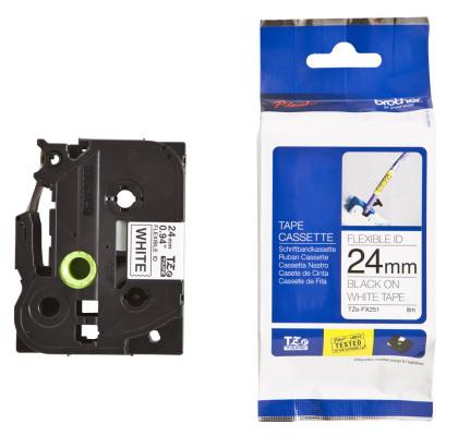 Originálná páska Brother TZE-FX251, 24mm, čierna tlač na bielom podklade, flexibilné