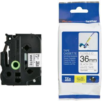 Originálná páska Brother TZE-FX261, 36mm, čierna tlač na bielom podklade, flexibilné
