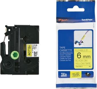 Originálná páska Brother TZE-FX611, 6mm, čierna tlač na žltom podklade, flexibilné