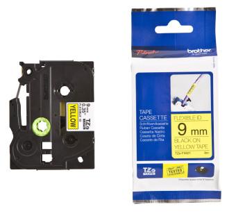 Originálná páska Brother TZE-FX621, 9mm, čierna tlač na žltom podklade, flexibilné
