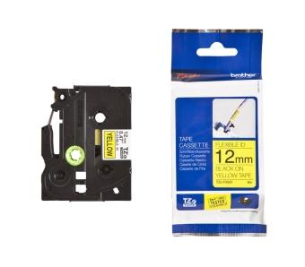 Originálná páska Brother TZE-FX631, 12mm, čierna tlač na žltom podklade, flexibilné
