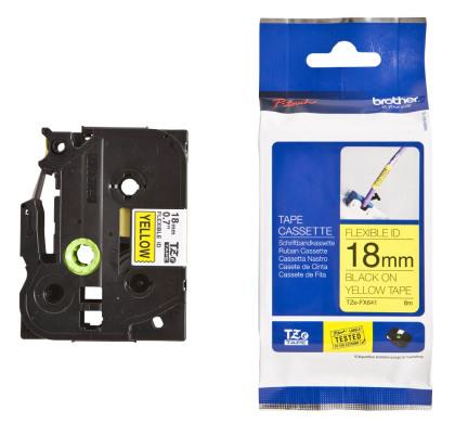 Originálná páska Brother TZE-FX641, 18mm, čierna tlač na žltom podklade, flexibilné