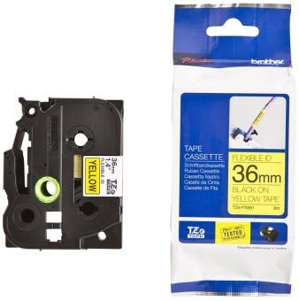 Originálná páska Brother TZE-FX661, 36mm, čierna tlač na žltom podklade, flexibilné