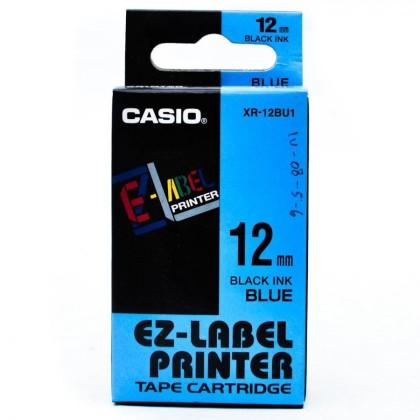 Originálná páska Casio XR-12BU1, 12mm, čierna tlač na modrom podklade