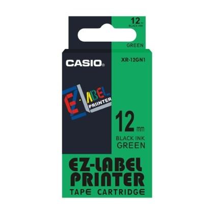 Originálná páska Casio XR-12GN1, 12mm, čierna tlač na zelenom podklade