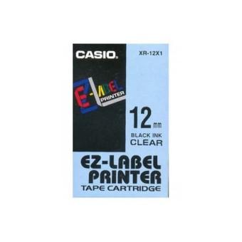 Originálná páska Casio XR-12X1, 12mm, čierna tlač na priesvitnom podklade