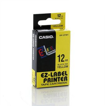 Originálná páska Casio XR-12YW1, 12mm, čierna tlač na žltom podklade